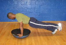 b1 leg planks on a bosu ball