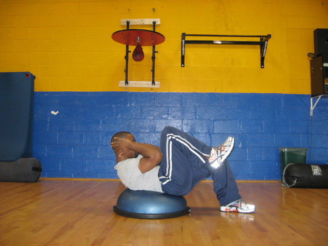 bosu crunches and knee ins