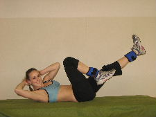 bicycle crunches with ankle weights