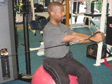 seated stability ball cable rotations