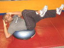 bosu ball bicycle crunches