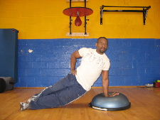 side plank exercise on a bosu ball