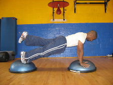 1 leg plank on a bosu ball