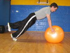 1 leg stability ball plank