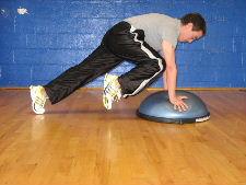 bosu ball plank knee ins