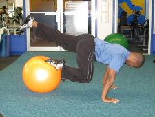 1 leg stability ball roll ins