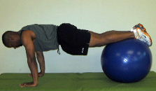 stability ball exercise roll ins