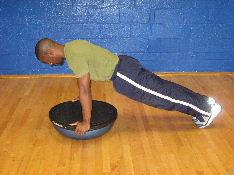 plank on a bosu ball