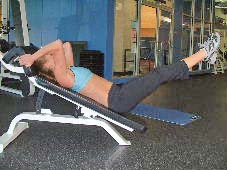 decline bench leg raises