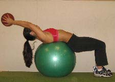 medicine ball crunches on a stability ball