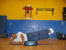 side leg raises on the bosu