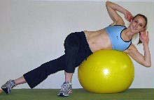 side crunches on a stability ball